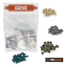 Realistic Resource Tokens For The Scythe Board Game - 20 Metal, Wood, Food, Oil