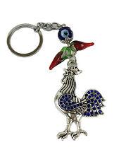Rooster Blue Rhinestones Evil Eye Key Chain Key Ring Feng Shui