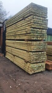 Timber fencing post rails 87mm x 38mm 3.6m paddock fencing Green Treated