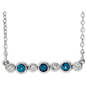 "Genuine Alexandrite & .08 CTW Diamond Bezel Set Bar 16-18"" Necklace In Platinum"