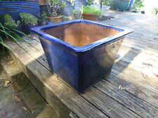 large midnight blue POT Planter Glazed terracotta square tapered Avalon Beach