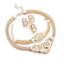1 Set Crystal Diamond Choker Necklace Earrings and Bracelet Wedding Jewelry Set