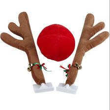 CAR REINDEER ANTLERS BELLS & RED RUDOLPH NOSE CHRISTMAS FESTIVE DECORATION SET
