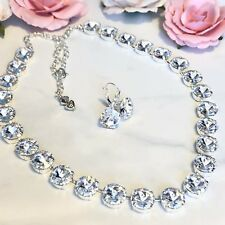 Swarovski Crystal Elements Necklace & Earrings Clear 12mm Jewelry Set New