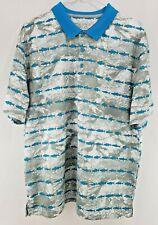 Reel Legends Freeline Vented Blue Polo Fishing Boating Golf Shirt Size Large