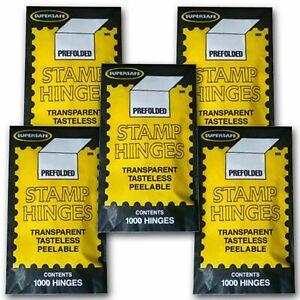 Supersafe Prefolded Stamp Hinges 5 Packs X 1000 = 5000 Hinges Best Deal FoXRiveR