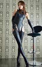 3PCS Sexy Women Faux Leather Lingerie Catsuit Bodysuit Gloves Pantihose Costume