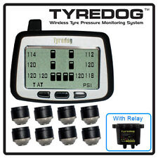 TYREDOG TPMS with 8 Cap Sensor Tire Pressure Monitor for RV,Trucks and Dullies