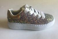 Skechers Street Girls Glitter Platform Sneaker Shoes Sz 13 Memory Foam