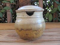 """Stoneware~Pottery~4"""" Covered Sugar Bowl~Sage~Unknown Artist"""