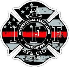 4 Inch Reflective IAFF Thin Red Line Maltese Distressed Flag Sticker Decal