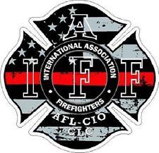 2 Inch Non Reflective IAFF Thin Red Line Maltese Distressed Flag Helmet Sticker