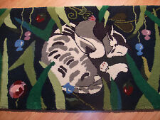 RUG - Sleeping Cat in the Garden Flowers ~ Wool Runner Rug