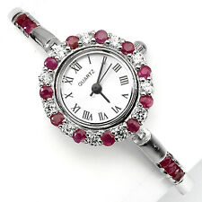 Sterling Silver 925 Stunning Round Faceted Genuine Pink Ruby Watch 7.5 Inch