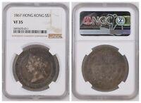 NGC Hong Kong 1867 One Dollar Queen Victoria Silver Coin Scarce Nice Toned VF35