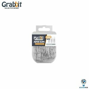 Grabbit 50mm Round Silver Paper Clips   Home Office School Stationery Accessory