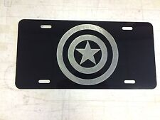 Captain America Logo Car Tag Diamond Etched on Black Aluminum License Plate