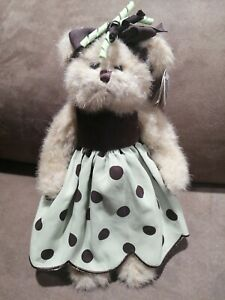"Bearington Collection Bear #179905 Bibi 11"" Stuffed Plush Polka Dress With Tags"