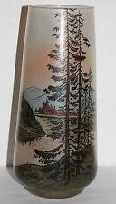 ancien vase a décor émaillé de sapin signé jem élève de legras