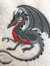 Embroidered Bathroom  Hand Towel- Crouching Gray and Red Dragon HS0935