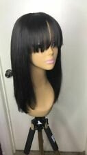 Brazilian Straight Human Hair Wigs Glueless Lace Front Wig with Bangs Baby Hair
