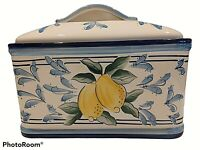 INSPIRADO SEATTLE USA CERAMIC BREAD BOX COOKIE JAR BLUE W/LEMONS STONELITE