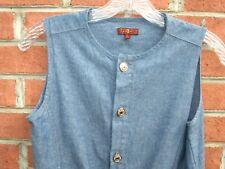 7 FOR ALL MANKIND Girls's Blue Indigo Denim Button Down Dress Cotton Size XL