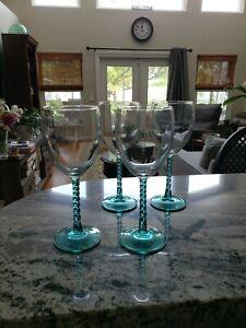 Luminarc Cristal D'arques Durand Angelique Aqua Twisted Stem Wine Glass Set Of 4