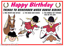 HORSE RIDING GYMKHANA FUNNY BIRTHDAY CARD FREE POST 1ST CLASS SAME DAY DISPATCH