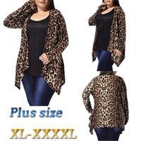 Fashion Women's OverSize Leopard Print Asymmetric Open Front Cardigan Coat Hot
