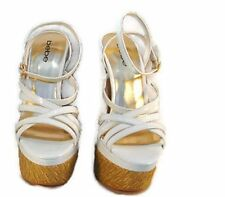 BEBE Womens Nori White And Gold Wedge Heel Platform Style Strappy Fashion size 8
