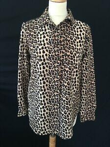 Zara Basic leopard print animal 10  blouse lace shirt
