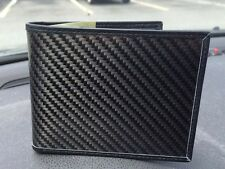 REAL CARBON FIBER & GENUINE LEATHER BIFOLD WALLET W/ PHOTO ID FLAP - GLOSS