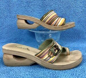 SKECHERS SPINNERS ELATE Fruit Stripe Spark Winky Wedge Heel Toe Sandal 11