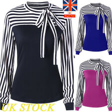 UK Womens Bow Tie Striped Contrast Long Sleeve Shirts Ladies Formal Work Blouse