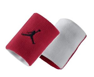 NIB Nike Air Jordan WristBand White/Red One size Fits most 2 pcs / pack