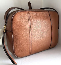 NEW FOSSIL Gemma Crossbody Brown Genuine Pebbled Leather Camera Bag Top Zip NWT