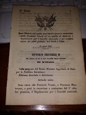 2 REGI DECRETI 1867+1859 CONVITTI +REGOLAMENTO CIAMBERI VOGHERA NOVARA NIZZA TO