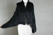 NEW 100% RABBIT FUR SWING VEST BLACK Free Size Free P&P