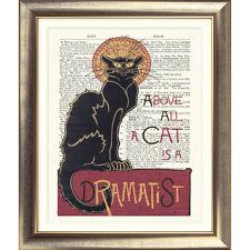 ART PRINT ON ORIGINAL ANTIQUE BOOK PAGE Cat Quote Art Nouveau Chat Noir Poster