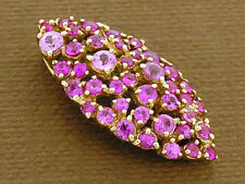 P058 Genuine 9K Gold NATURAL Pink Sapphire Pave Navette shaped Slider Pendant