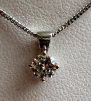 New 1/2ct Champagne Diamond Solitaire 9ct White Gold Pendant & Chain £275