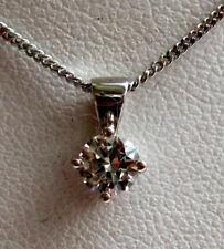 Brand New 1ct Natural Diamond Solitaire 9ct White Gold Pendant & Chain £999