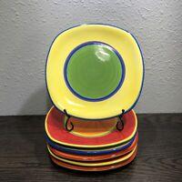"6 DANSK Caribe Aruba HandPainted 8 3/4"" Luncheon Plates Stunning Multi-Colors"