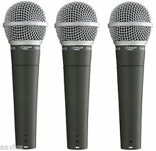 Pyle Mic Dynamic Handheld Microphone for Church Stage Studio Vocal Singing 3-PK