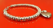 Silver Plated Polished 6mm Ball Bead Bracelet Heart