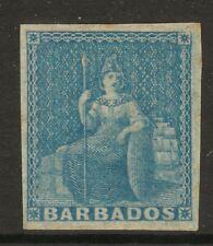 Barbados QV 1d blue (imperf) 4 margins Mint Hinged