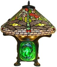 14in Tiffany Green Dragonfly Luminescent Table Desk Lamp Glass Stained Art Shade