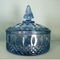 Vintage Indiana Glass Windsor Blue Princess Pattern Round Covered Candy Dish 6""