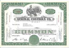 GENERAL CONTROLS CO.....1958 STOCK CERTIFICATE